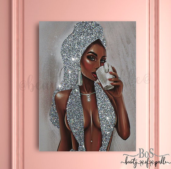 Lady with turban Silver Glitter canvas, Any size.