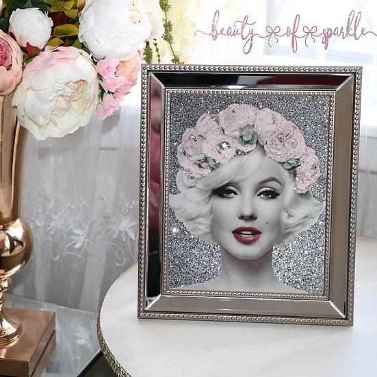Silver glitter Marilyn Monroe, Mirror Frame Glitter wall art.