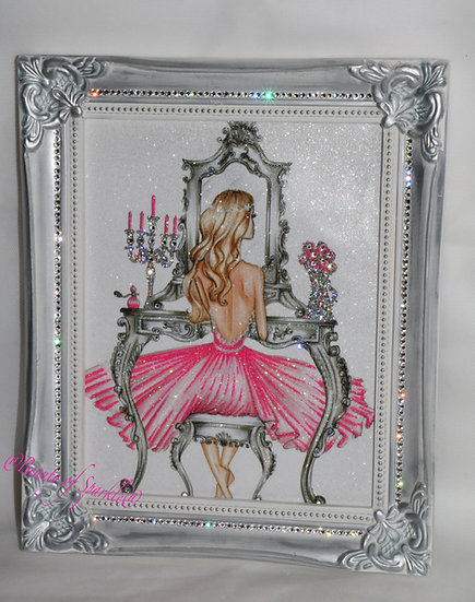 Glitter Girl picture, Silver Shabby chic Framed or Canvas! Any Size