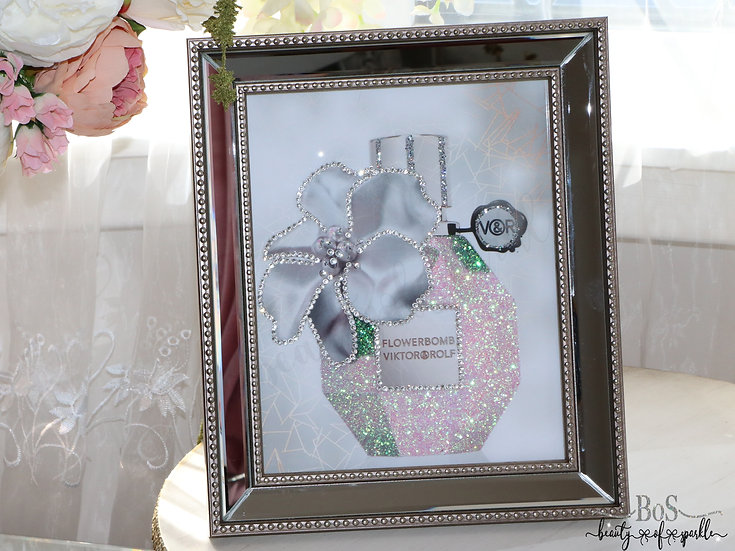 Sparkle Pink Flowerbomb perfume, Mirror Frame Glitter wall art.