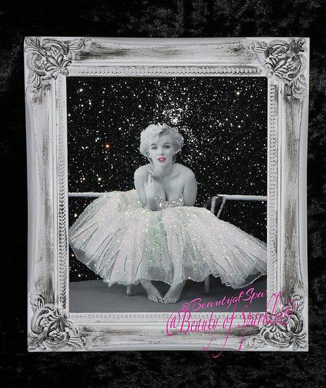 Marilyn Monroe Sparkle Glitter picture, Shabby Chic Frame.
