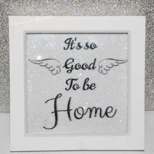 Diamond Embellished Sparkly Deep Box Framed Quote canvas.