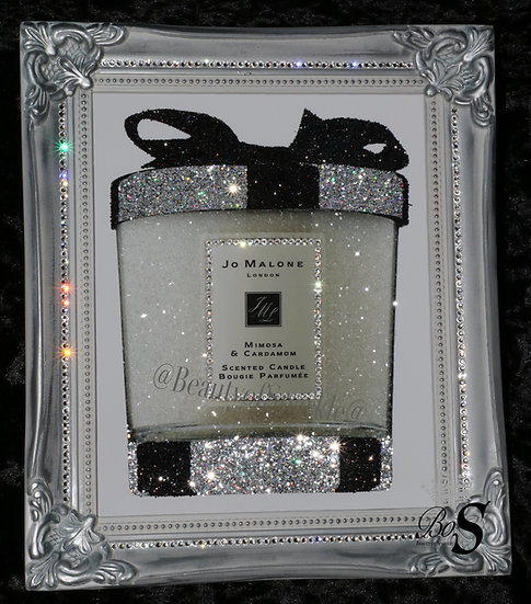 Silver Jo Malone Sparkle Glitter picture Shabby Chic Frame or Canvas! Any Size