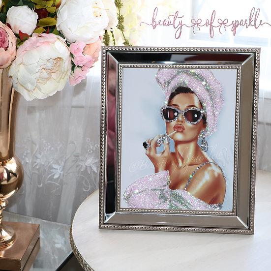 Glitter Audrey Hepburn picture, Mirror Frame Glitter wall art