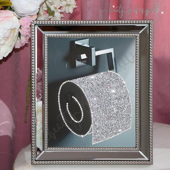 Silver glitter Toilet Roll picture, Mirror Frame Glitter wall art