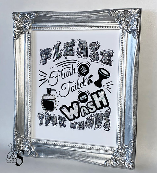 """Sparkle """"Toilet quote"""" Glitter canvas, Any size."""
