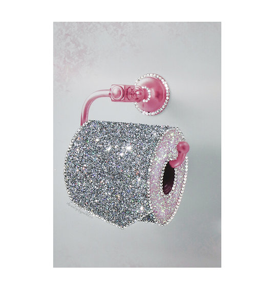 Toilet roll picture Silver Glitter canvas, Any size.
