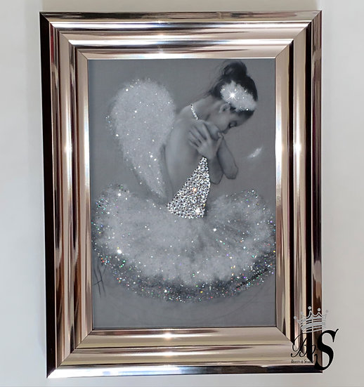 Glitter Crystals Ballerina Picture, Chrome Gloss frame, or any canvas Wall Art..