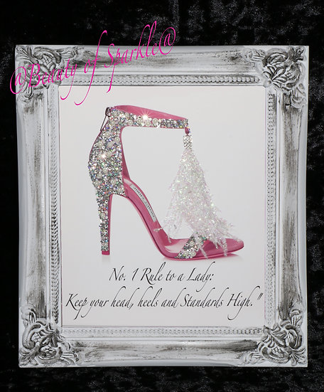 Pink Shoe Quote Sparkle Glitter picture, Shabby Chic Frame.
