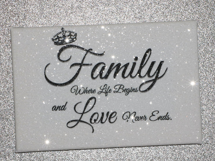 Diamond Embellished Sparkly glitter Family canvas!