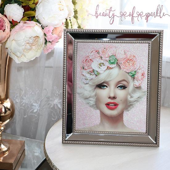 Pink glitter Marilyn Monroe, Mirror Frame Glitter wall art.