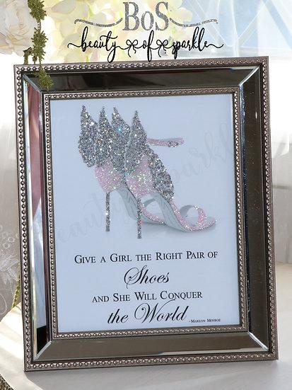Sparkle Shoe, Marilyn Monroe Quote, Mirror Frame Glitter wall art.