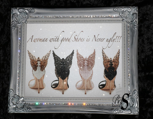 Shoe Quote picture - Glitter & crystals. Framed or Canvas