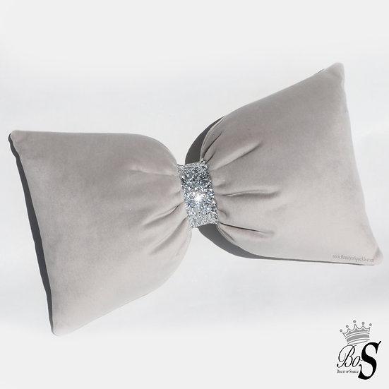 Silver - French Velvet, 2 sizes Glitter Bow Cushions.