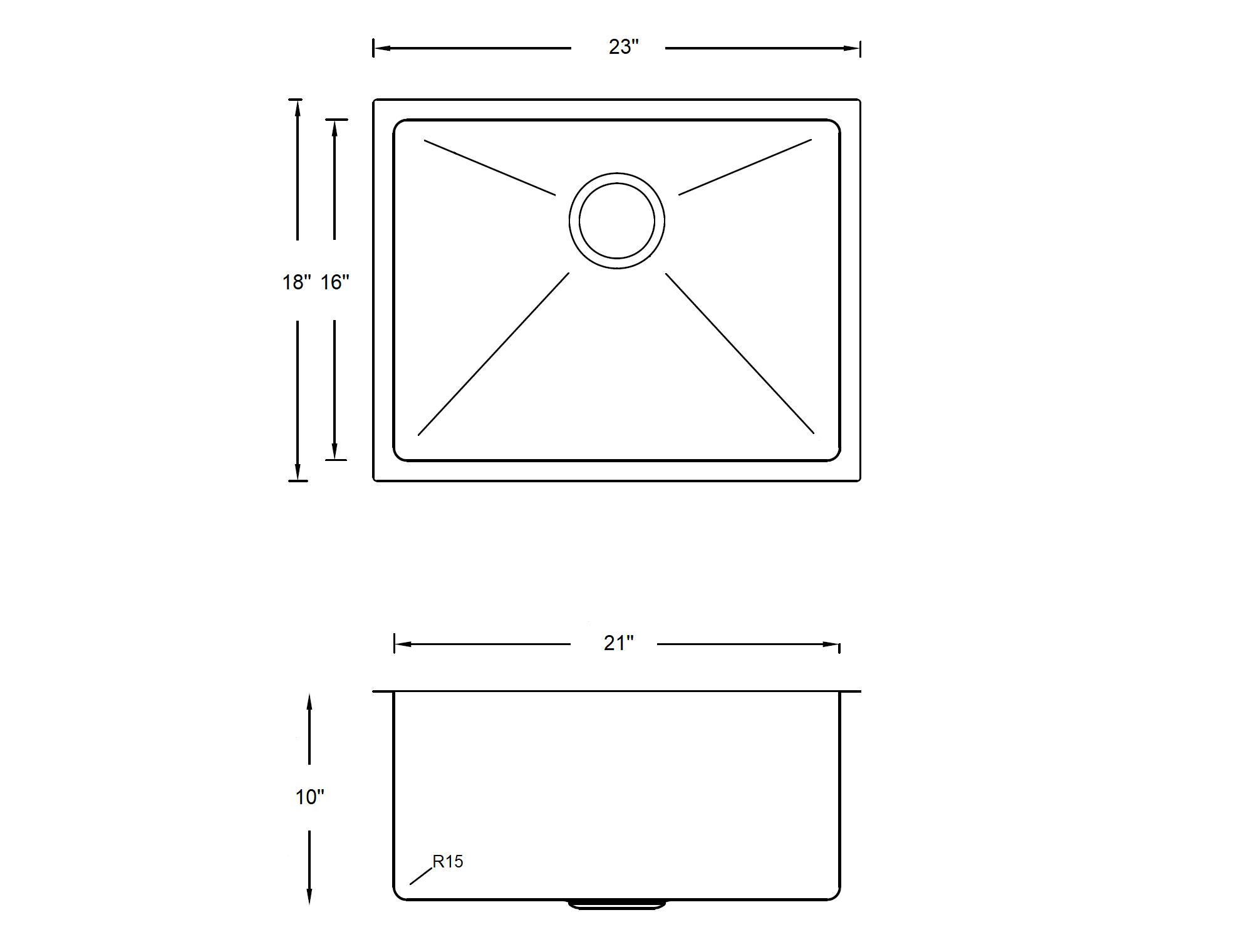 23 X 18 Single Basin Undermount Kitchen Sink With Basket Strainer Hs2318 Mysite 1