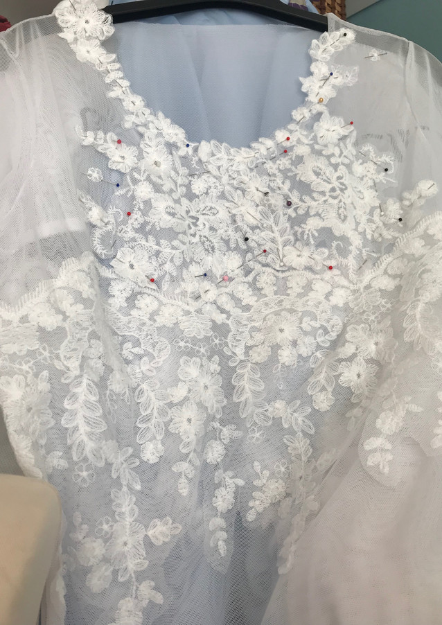 Bridesmaid top with strategically placed lace