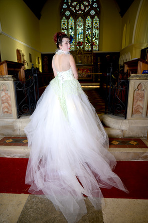 Train on corseted bespoke gown