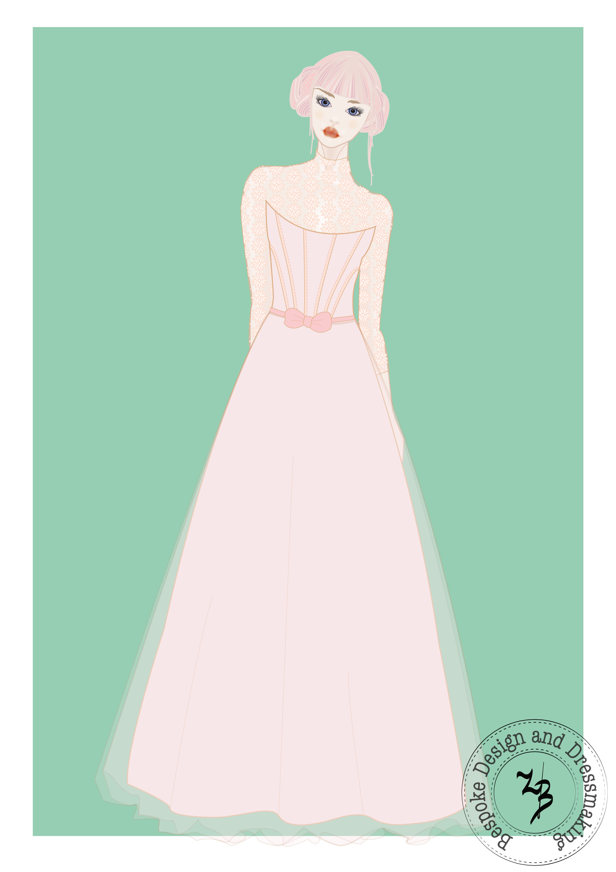 Classical bridal gown in dusty pink