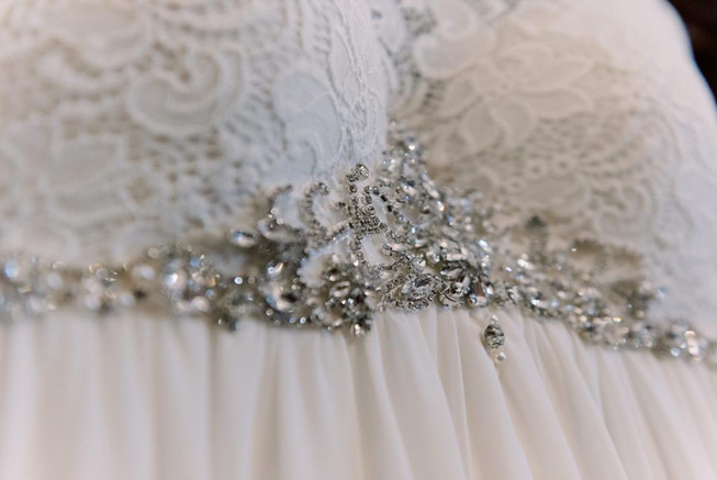 Ivory lace and hand sewn rhinestones