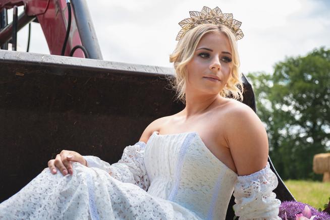 Soft lace, corseted bespoke wedding dress
