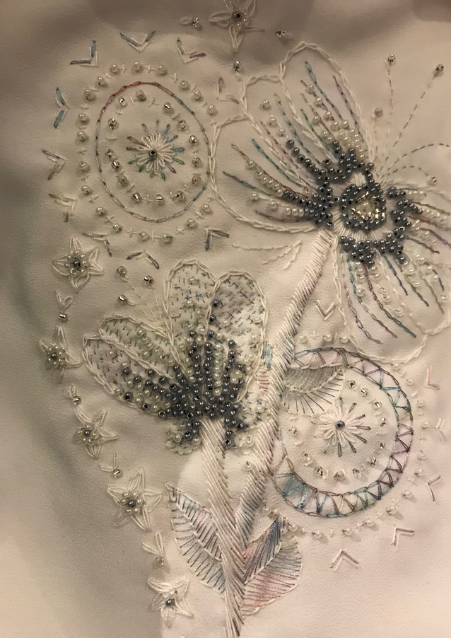 Free hand emboridery for bridal gown