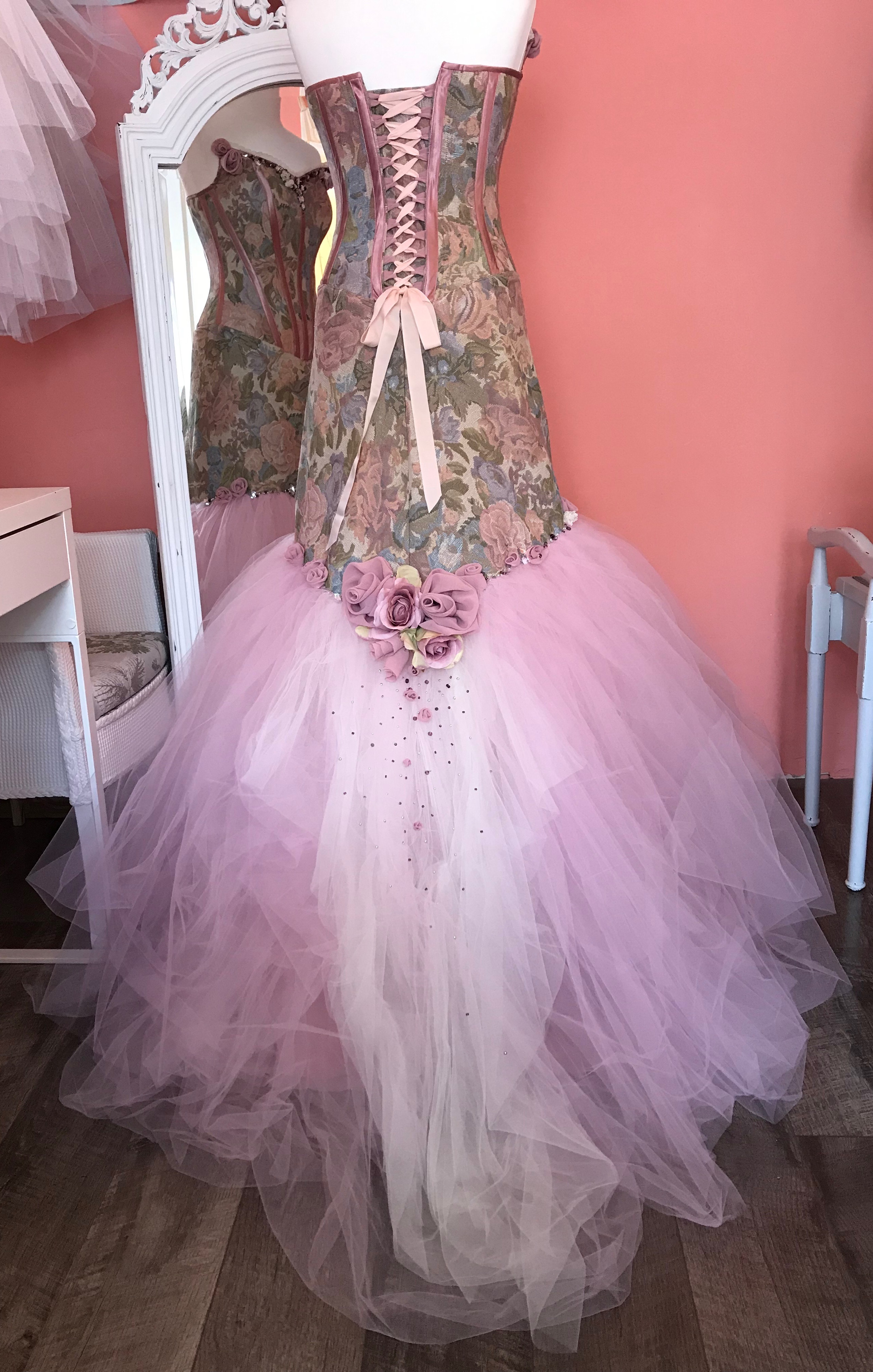 Rose wedding gown back