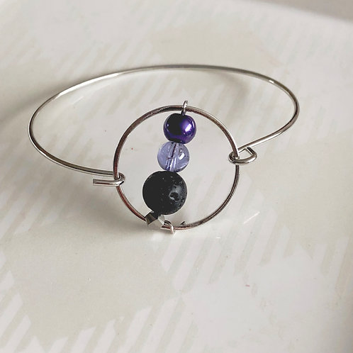 Amethyst + Lava Bangle