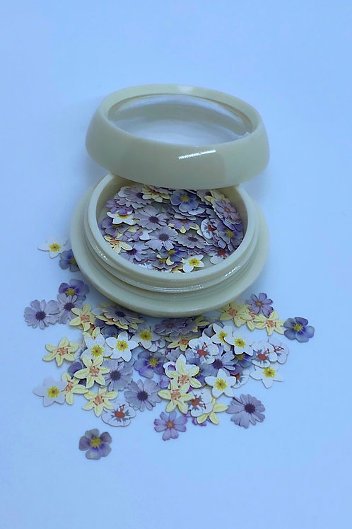 Encapsulated Purple & White Flowers