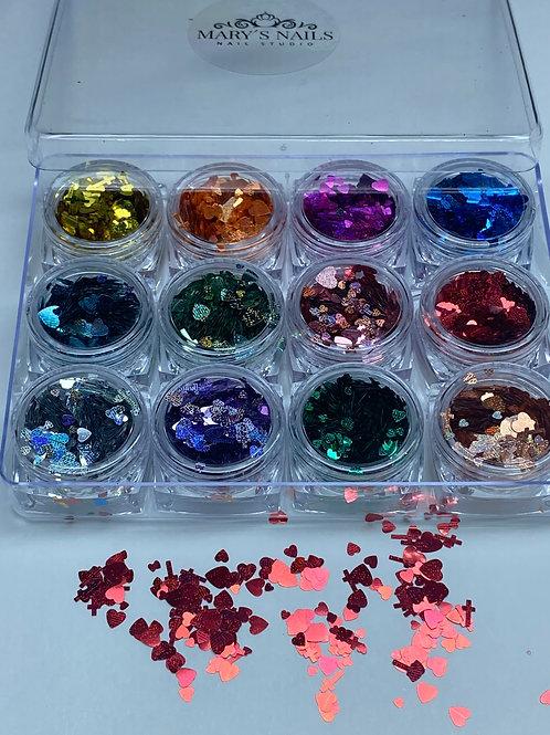 Heart Shaped Glitter Sequin Tips