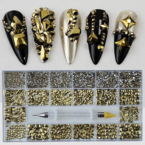 3D Nail Art: Bulk Golden Rhinestones (1440 pcs)