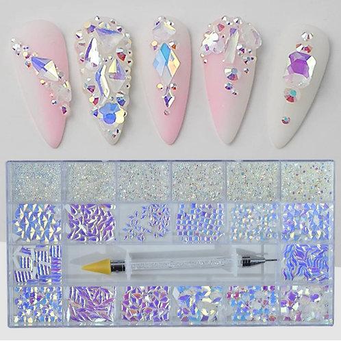 3D Nail Art: Bulk Crystal Clear Rhinestones (1400 pcs)
