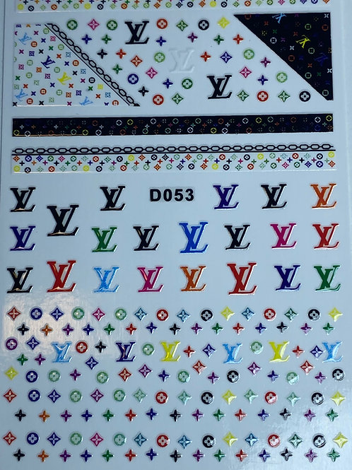 Colorful Louis Vuitton Nail Stickers