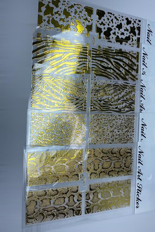 Set of 5 Golden Nail Patterns
