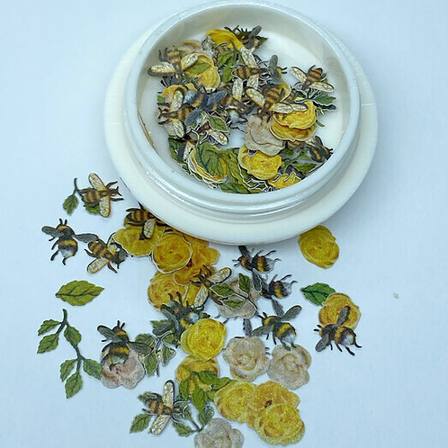 Yellow Flowers, Leaves, and Bees (50 pcs)