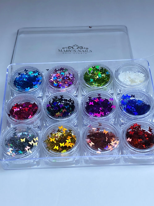 Butterfly Nail Glitter Sequins Tips