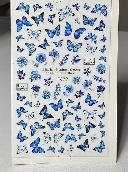 Blue Butterflies Nail Stickers