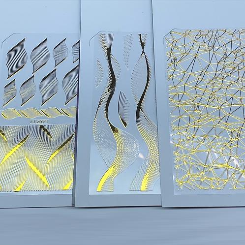 Set of 3 Golden Nail Patterns