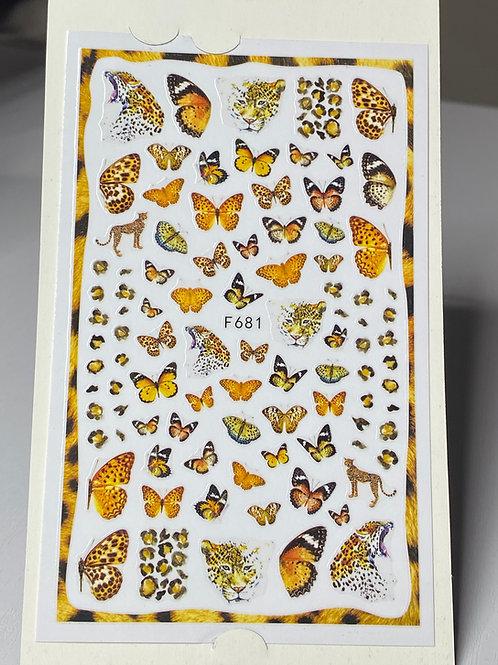 Sun Flowerily Butterflies Nail Stickers
