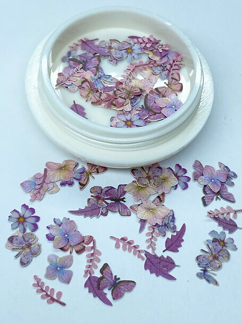 Pink Flower, Butterflies, and Leaves (50 pcs)