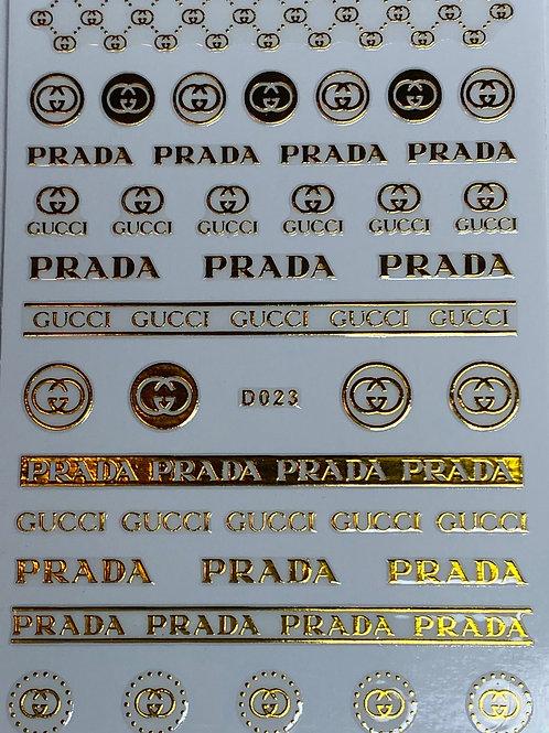 Gold Gucci and Prada Nail Stickers