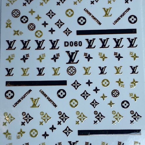 Black and Gold Louis Vuitton Nail Sticker