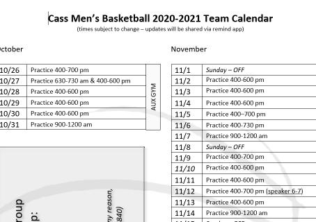 2020 Team Calendar