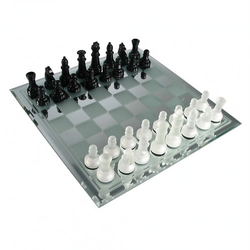 Frosted Mirror Glass Chess Set