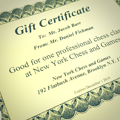 Gift Certificate For Classes