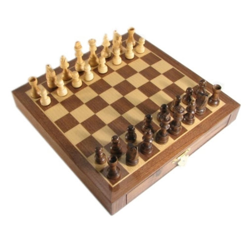 "Travel Tournament Magnetic Wood Set 10 1/2"" Brown"