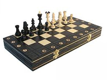 "Fancy Travel Tournament Magnetic Wood Set 10 1/2"" Black"