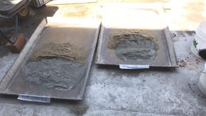 Concrete mixing using brick chip