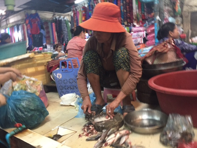 Old Market - Siem Reap. Preparing the day's catch for sale.