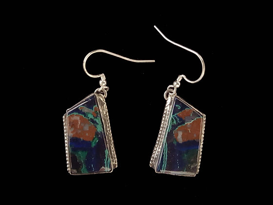 Azurite Earring with Cuprite and Malachite