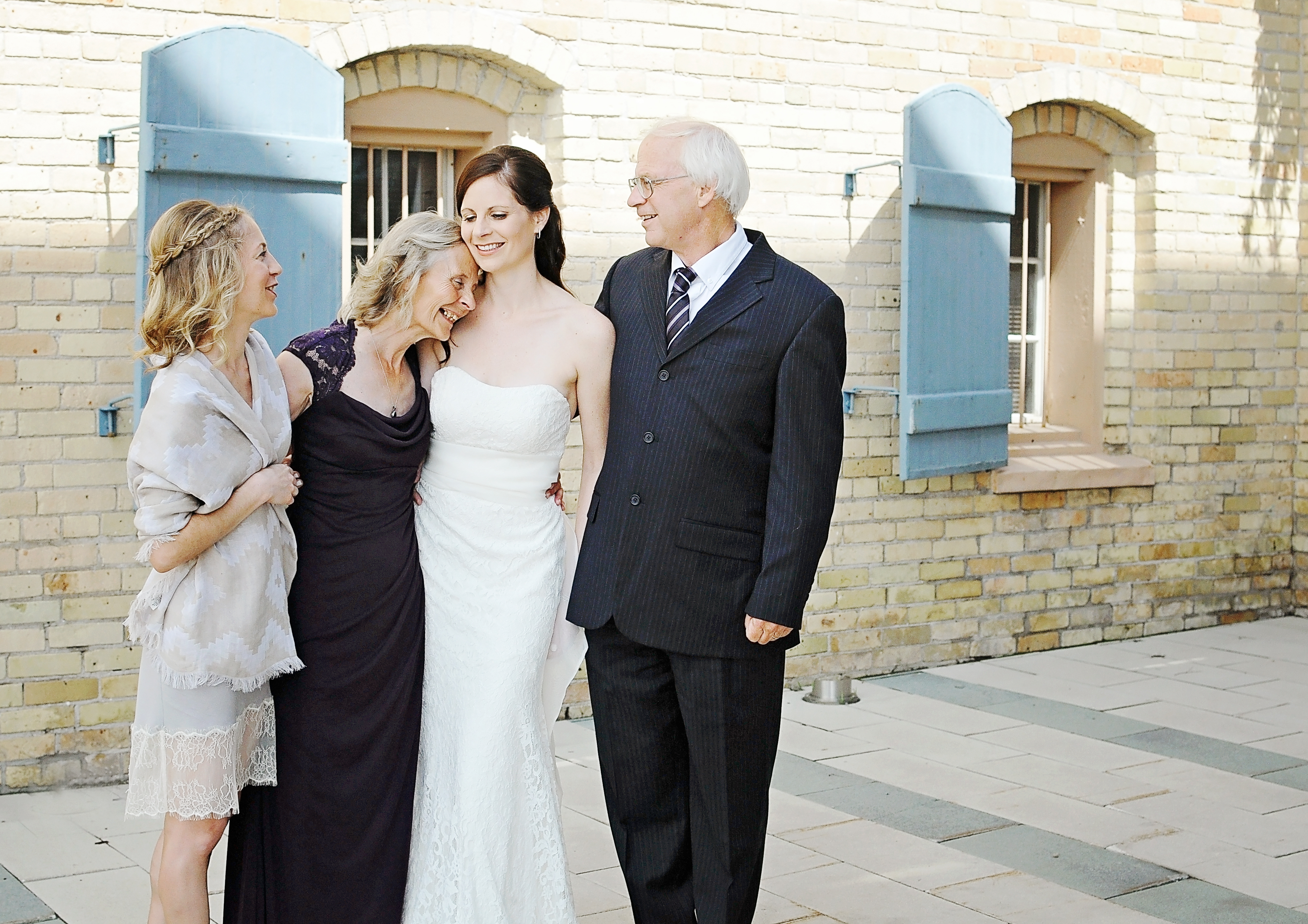 Sarah and her family with dress